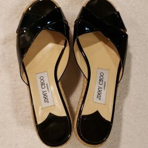 Jimmy Choo black patent leather criss shoes